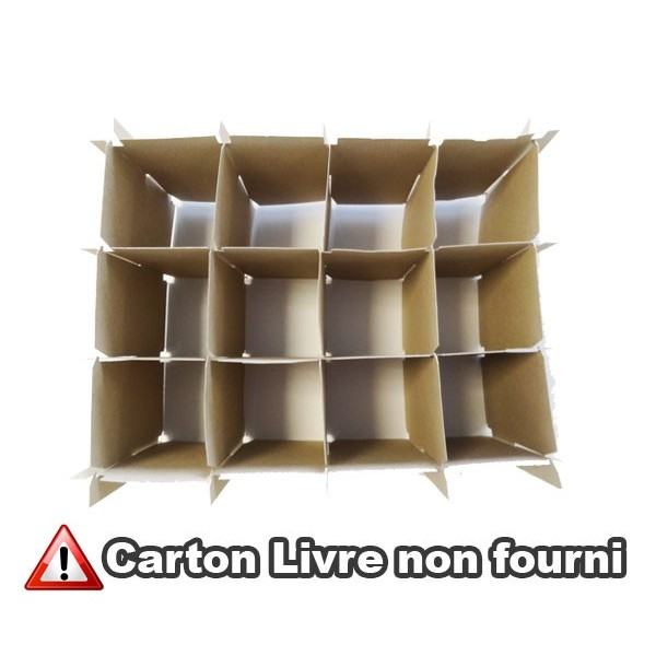 lot de 2 croisillons de 12 verres intercalaire pour petit carton de d m nagement. Black Bedroom Furniture Sets. Home Design Ideas